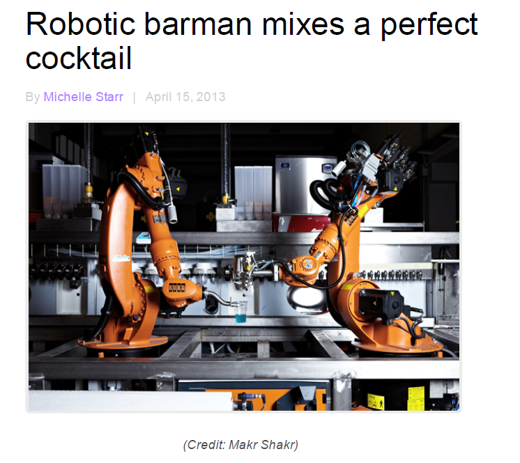 Cnet – Robotic barman mixes a perfect cocktail