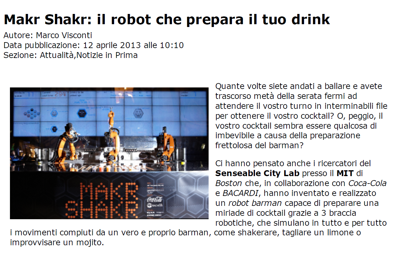 The Blazoned Press – Makr Shakr il robot che prepara il tuo drink