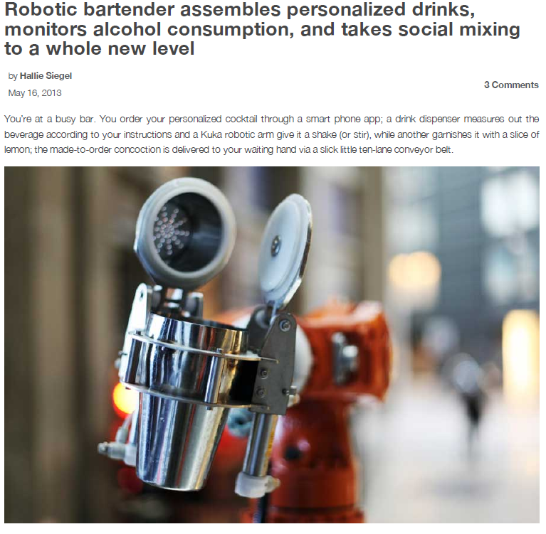 Robohub – Robotic bartender assembles personalized drinks, monitors alcohol consumption, and takes social mixing to a whole new level