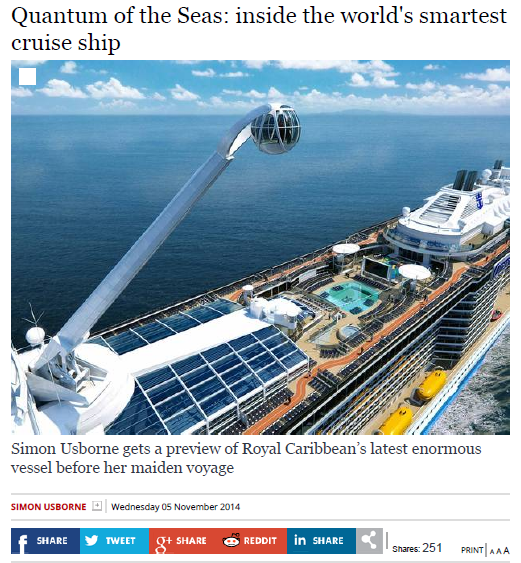 Indipendent – Quantum of the Seas inside the world's smartest cruise ship