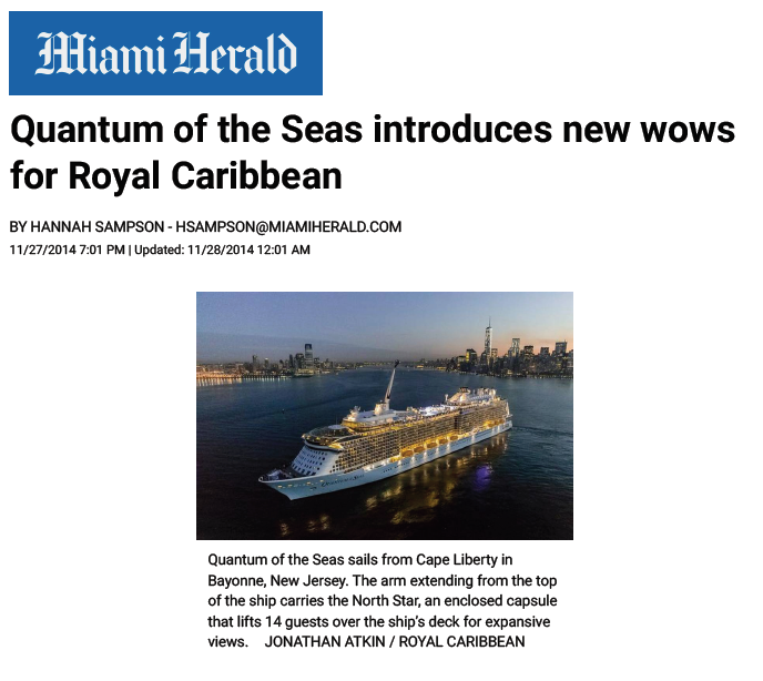 Miami Herald – Quantum of the Seas introduces new wows for Royal Caribbean
