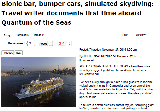 The Vip – Bionic bar, bumper cars, simulated skydiving Travel writer documents first time aboard Quantum of the Seas