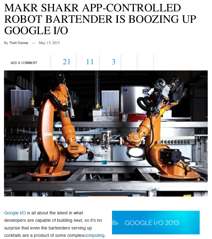 Gizmag – Makr Shakr World's first crowd controlled robotic bar makes debut