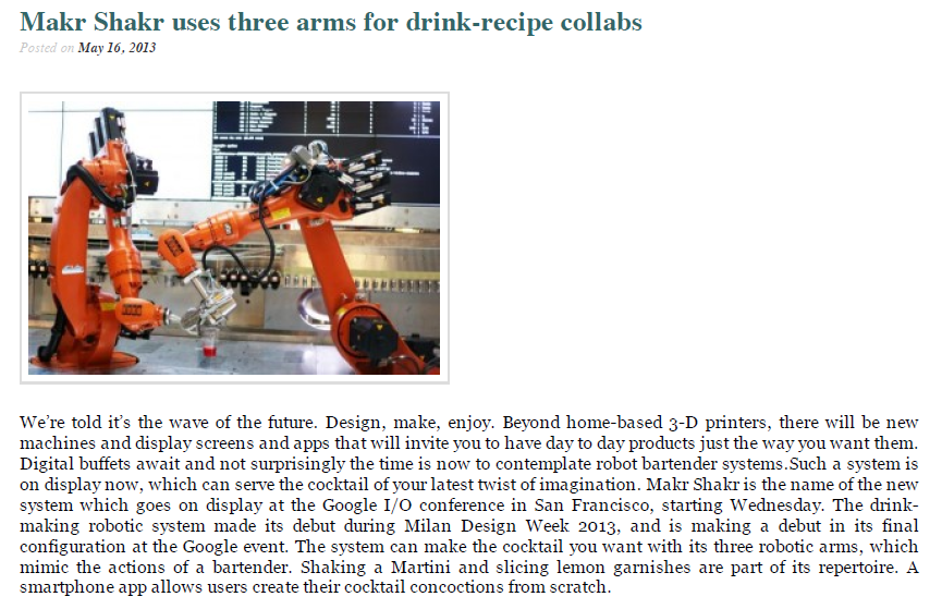 Technology – Makr Shakr uses three arms for drink-recipe collabs