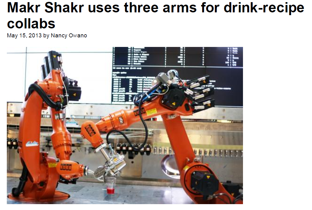 PhysOrg – Makr Shakr uses three arms for drink recipe collabs