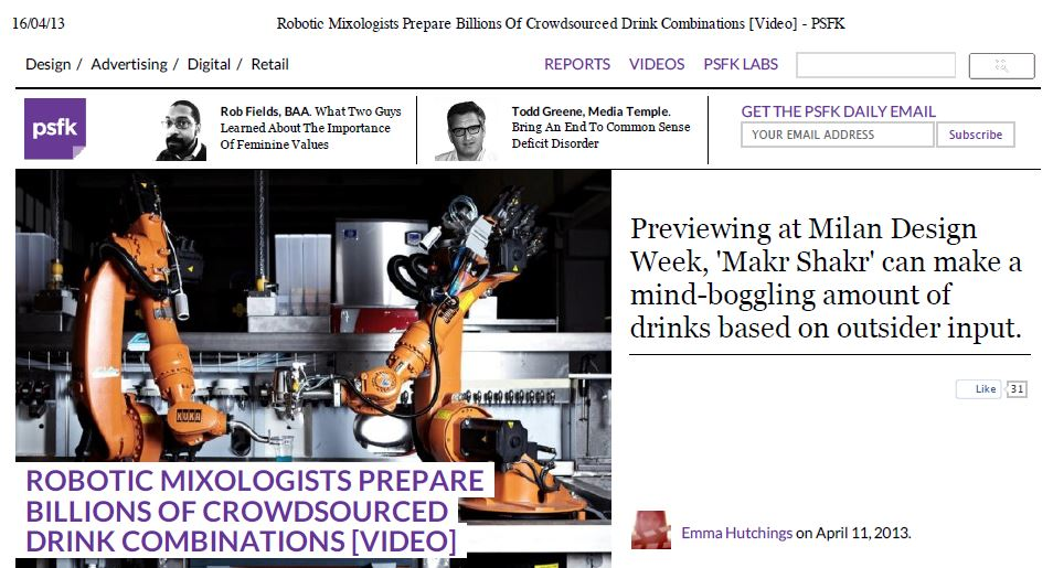 Psfk – Robotic mixologists prepare billions of crowdsourced drink combinations