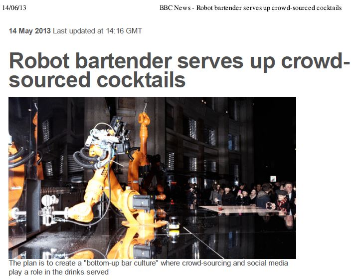 BBC – Robot bartender serves up crowdsourced cocktails