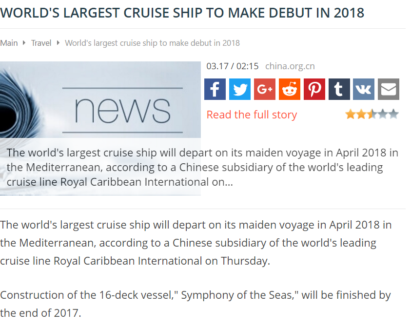 MyInforms.com – World largest cruise ship to make debut in 2018